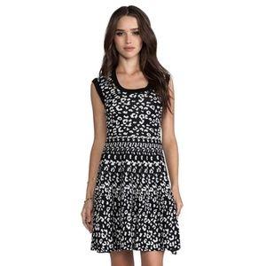 NWT Rebecca Taylor Leopard Stretch Flare Dress